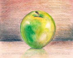 Draw a green apple & render using pencil colours o