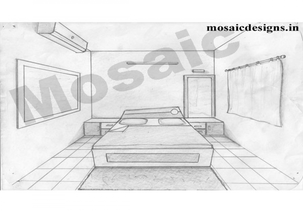 one point perspective living room drawing wesharepics