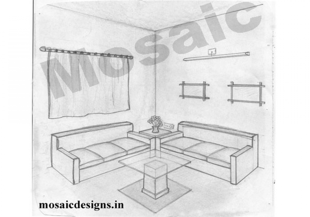 Modern living room perspective drawing for Living room 2 point perspective